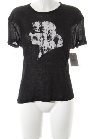 Karl Lagerfeld T-Shirt schwarz-weiß Motivdruck Casual-Look