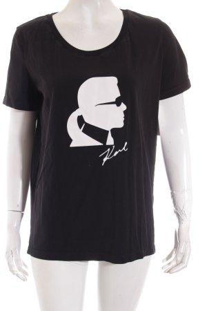 Karl Lagerfeld T-Shirt schwarz-weiß Motivdruck Street-Fashion-Look