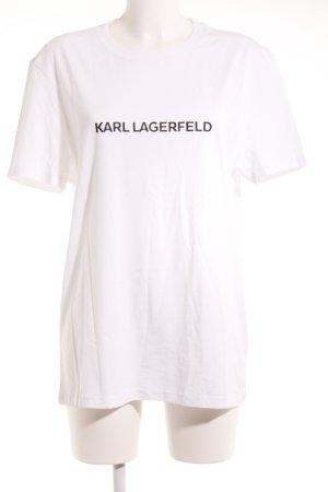 Karl Lagerfeld T-Shirt weiß-schwarz Schriftzug gedruckt Casual-Look
