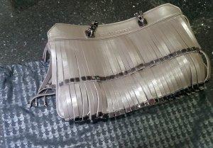 Karl Lagerfeld Tasche Handtasche Schultertasche Leder Niete grau braun anthrazit