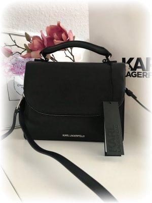 Karl Lagerfeld Tasche, schwarz, Leder, mit Henkel und Schulterriemen, NEU