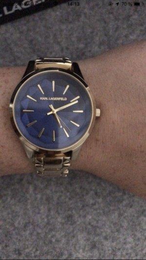 Karl Lagerfeld Montre avec bracelet métallique doré-bleu