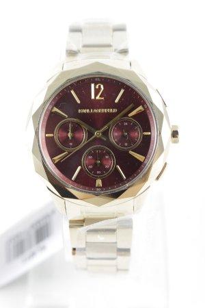 Karl Lagerfeld Uhr mit Metallband goldfarben-bordeauxrot Elegant