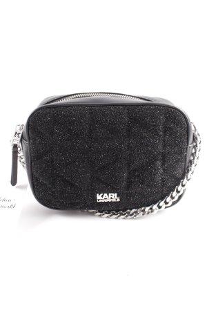 Karl Lagerfeld Umhängetasche schwarz-silberfarben abstraktes Muster