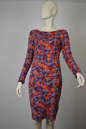 Karl Lagerfeld, Viskose Kleid, Camouflage orange-blau-rot, Gr. S, ausgefallen