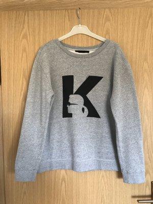 Karl Lagergeld Sweater Top Sweatshirt Oberteil grau Pullover L