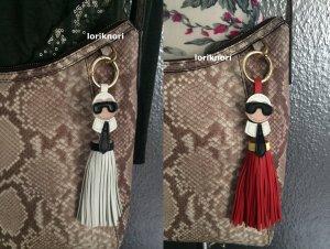 Porte-clés rouge-blanc faux cuir