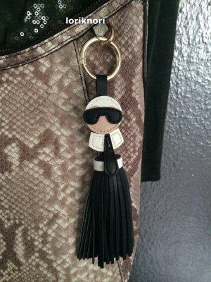 Porte-clés noir-blanc faux cuir