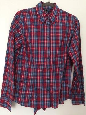 Tommy Hilfiger Tie-neck Blouse brick red-dark blue cotton