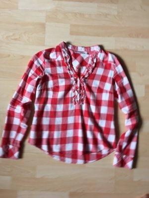 Karo Bluse/Hemd mit Rüschen Größe 38 weiß rot