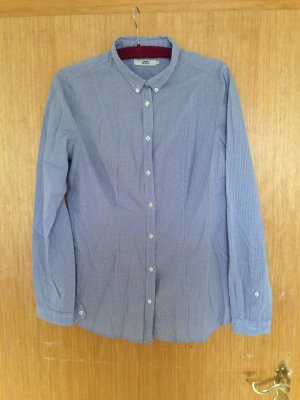 0039 Italy Checked Blouse white-blue