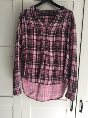 Only Blouse à carreaux rose-brun rouge coton