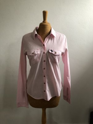 Abercrombie & Fitch Shirt met lange mouwen lichtroze-wit