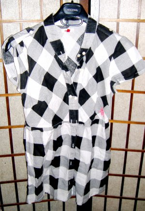 Only Short Sleeve Shirt black-white cotton