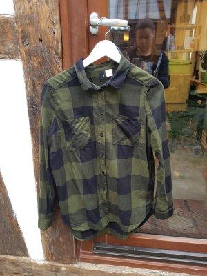 Karo Hemd Bluse Gr. 34 schwarz grün H&M