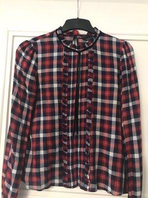 Zara Woman Geruite blouse donkerrood-zwart Katoen