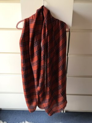 Sciarpa con frange ruggine-marrone-rosso
