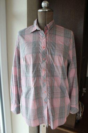 Karobluse / Bluse - grau weiß rosa - von Olsen
