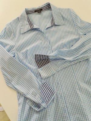Amisu Folkloristische blouse wit-lichtblauw