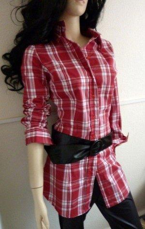 Camicia blusa rosso mattone-bianco Cotone
