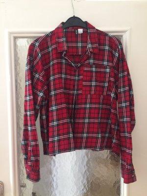 H&M Long Sleeve Shirt black-red