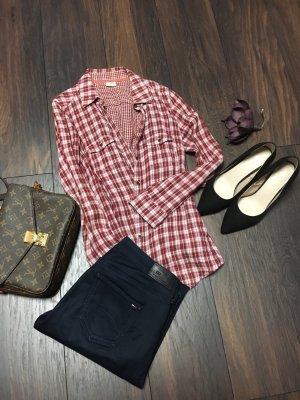 Esprit Camisa de leñador rojo oscuro-blanco