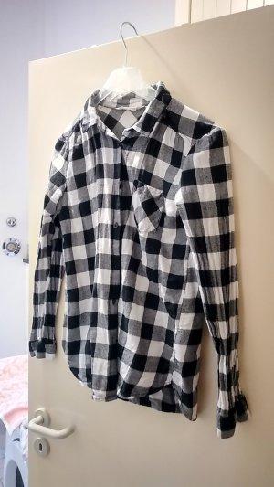 H&M Flannel Shirt white-black