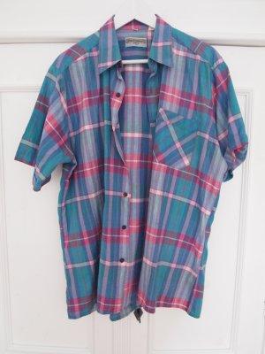 Karohemd Karo-Shirt Hemd kariert türkis rosa Vintage
