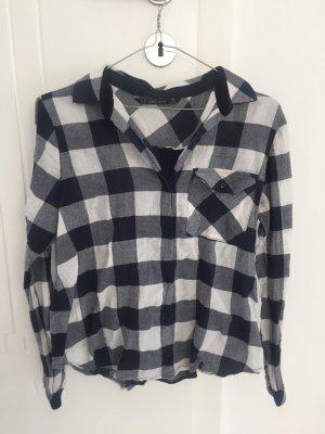 Zara Basic Shirt met lange mouwen wit-blauw