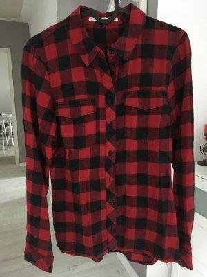 Only Camisa de leñador negro-rojo