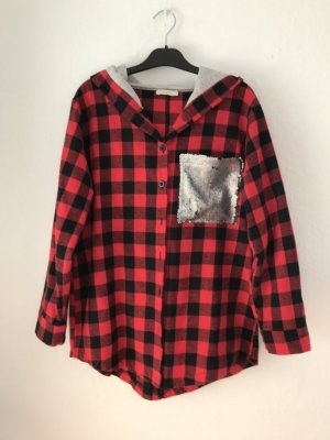 Sleek Chic Checked Blouse black-brick red
