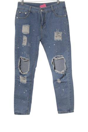 Jeans carotte bleuet style déchiré