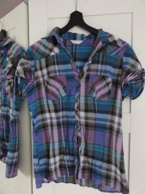 karrierte Bluse in blau/lila von Promod