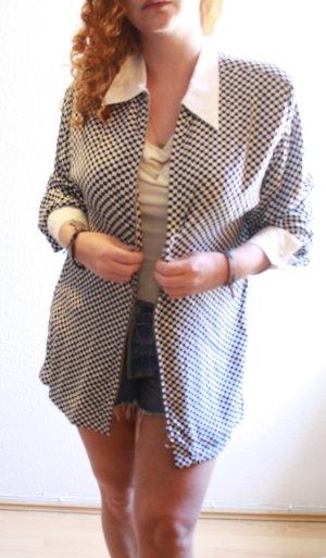 Karrierte Hipster Oversize Bluse Jacke mit Reisverschluss NEU