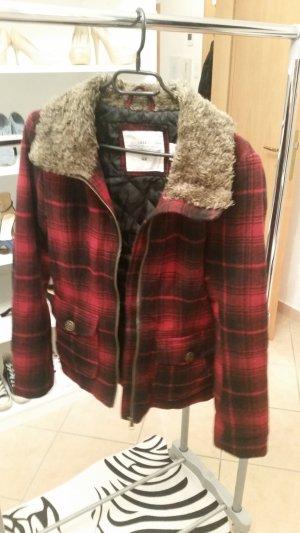 Karrierte Jacke mit Fellkragen H&M Größe 38
