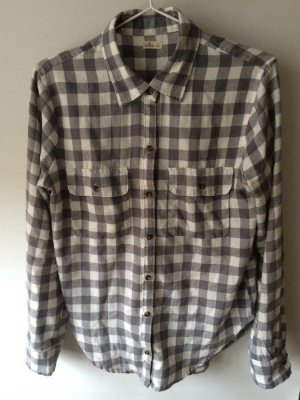Hollister Lumberjack Shirt silver-colored-white cotton