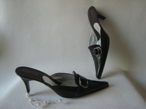 Heel Pantolettes black-silver-colored leather