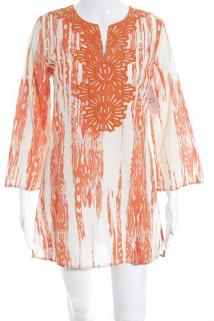 KAS NEWYORK Long Blouse natural white-dark orange ethnic pattern hippie style