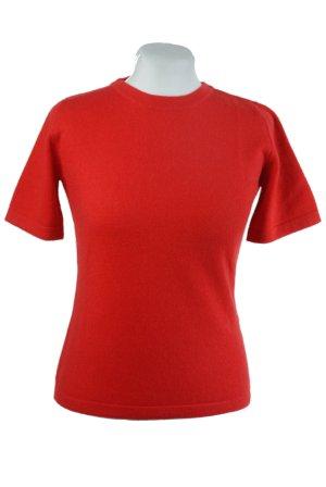 Kaschmir Pullover kurzarm, rot in S M L oder XL