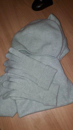 Chapeau en tricot gris vert-bleu pâle cachemire