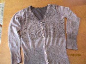 Gilet tricoté marron clair-brun cachemire