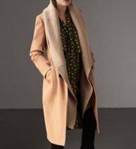 Burberry Abrigo de lana marrón arena Cachemir