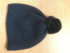 Sombrero de punto azul oscuro Cachemir