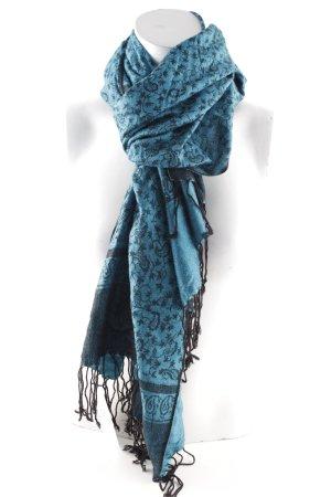 Kaschmirschal schwarz-stahlblau florales Muster klassischer Stil