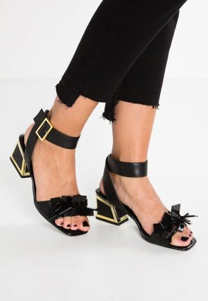Strapped High-Heeled Sandals black-gold-colored leather