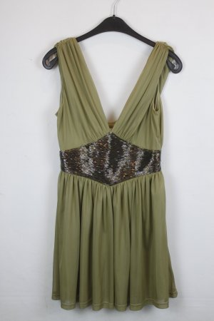 Kate Moss for Topshop Kleid Gr. 38 olive mit aufgenähtem Pailletten Gürtel (18/3/134)