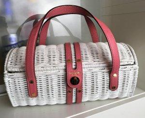 * KATE SPADE *  kleine KORB TASCHE STROH weiß lackiert Leder rosa - wicker basket purse