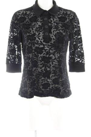 Kathleen Madden Polo-Shirt schwarz Blumenmuster Romantik-Look