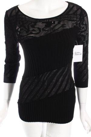 Kathleen Madden Pullover schwarz Lochstrickmuster extravaganter Stil