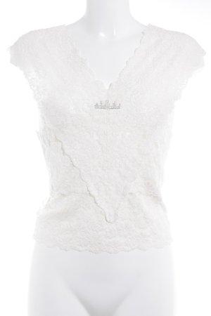 Kathleen Madden Top de encaje blanco puro estilo romántico